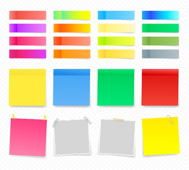 Coleção de notas auto-adesivas coloridas. fitas adesivas de cor com padrão de sombra. notas de papel em autocolantes, blocos de notas e mensagens de memorando, folhas de papel rasgadas. coloque qualquer texto nele.