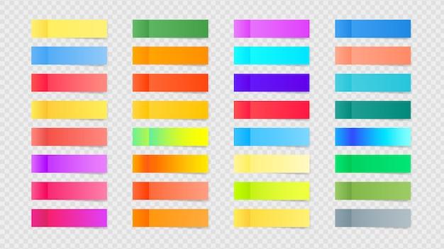 Coleção de notas auto-adesivas coloridas, sombras transparentes.
