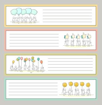 Coleção de notas bonitos para adesivos, tags. modelo para cartões, cadernos, acessórios escolares. doodle ilustração vetorial desenhada à mão com pessoas dos desenhos animados.