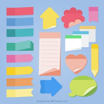 Coleção de notas de diferentes formas