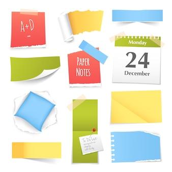 Coleção de notas de papel colorido realista