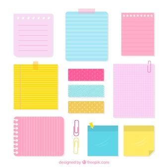 Coleção de notas de papel com diferentes estilos