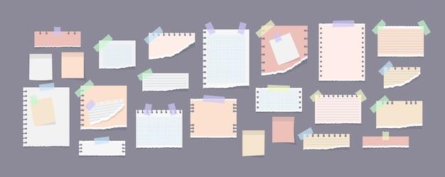 Coleção de notas de papel em adesivos