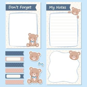 Coleção de notas e adesivos de urso fofo