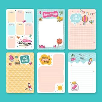 Coleção de notas e cartões de scrapbook