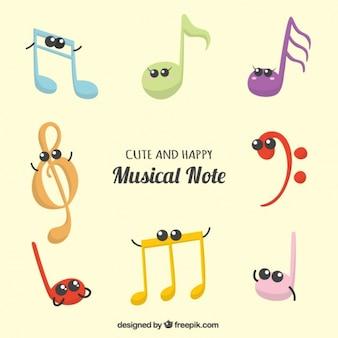 Coleção de notas musicais bonitos e felizes