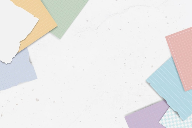 Coleção de notas rasgadas coloridas
