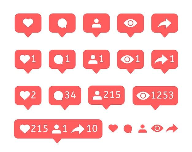 Coleção de notificação de mídia social.