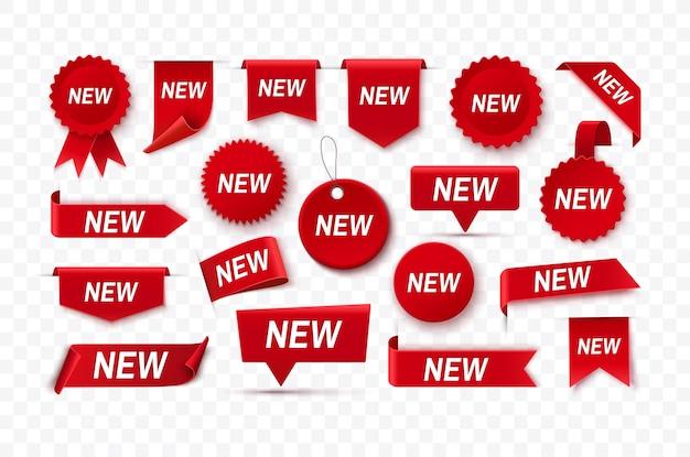 Coleção de novas etiquetas - grande conjunto de novos adesivos, etiquetas e fitas promocionais vermelhas realistas