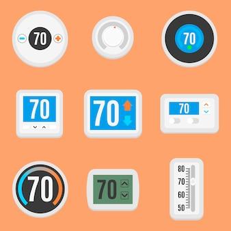 Coleção de nove diferentes termostato plana