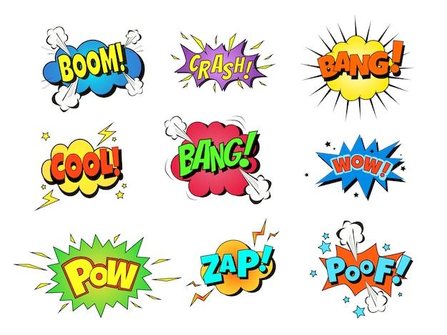 Coleção de nove efeitos sonoros em quadrinhos multicoloridos.