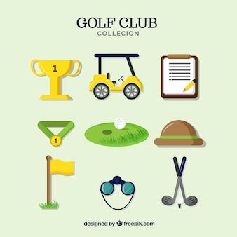 Coleção de nove elementos de golfe