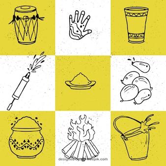 Coleção de nove elementos desenhados à mão para o festival de holi