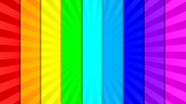 Coleção de nove fundo brilhante, vívido, colorido raios