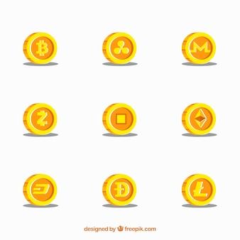 Coleção de nove moedas de criptomoedas de ouro