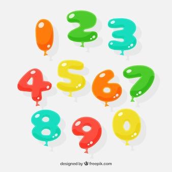 Coleção de número de balão colorido