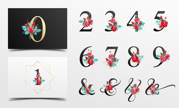 Coleção de números alfabeto bonito com decoração floral aquarela vermelha