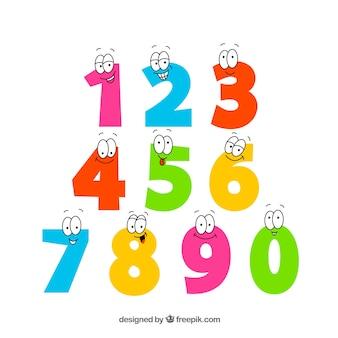 Coleção de números coloridos com olhos