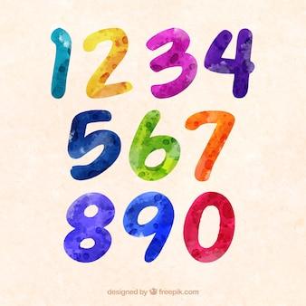 Coleção de números coloridos em aquarela