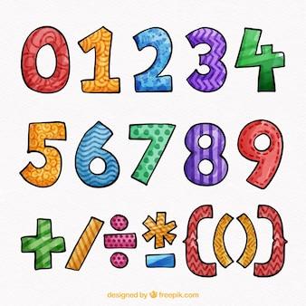 Coleção de números coloridos mão desenhada