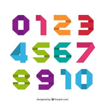 Coleção de números coloridos modernos
