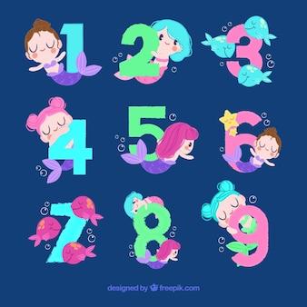 Coleção de números com adoráveis sereias