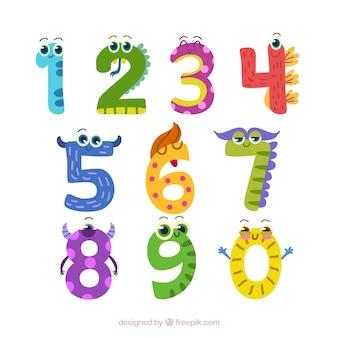 Coleção de números com animais
