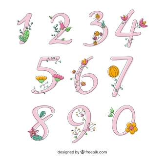 Coleção de números com flores de mão desenhada