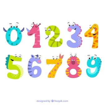 Coleção de números com personagens animais