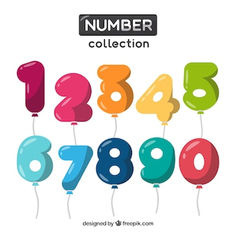 Coleção de números como balões