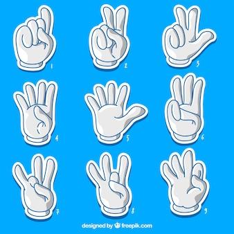 Coleção de números de dedo dos desenhos animados