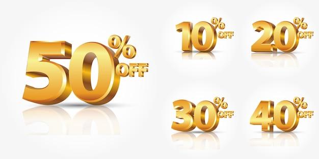Coleção de números de desconto ouro brilhante por cento fora isolado no fundo branco com reflexão ou publicidade de venda de desconto promoção