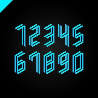 Coleção de números de esporte isométrico Vetor Premium