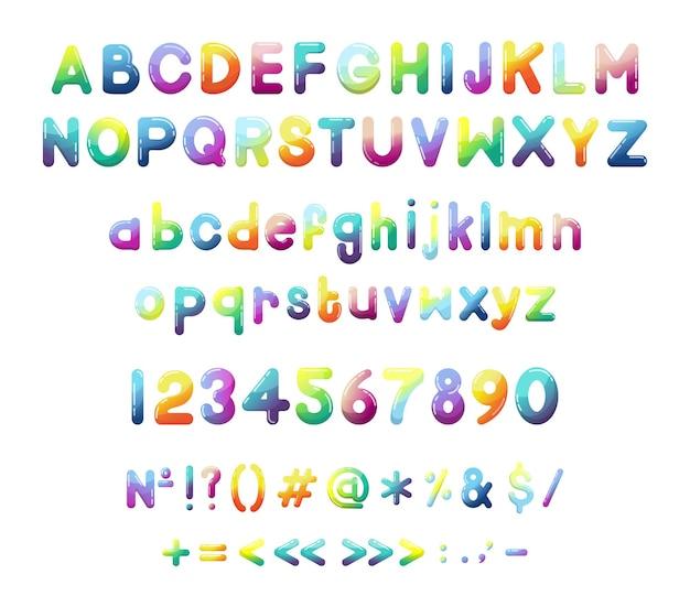 Coleção de números de letras latinas e sinais de pontuação