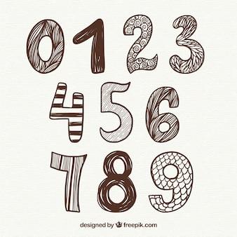 Coleção de números de mão desenhada