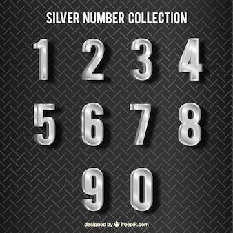 Coleção de números de prata brilhante