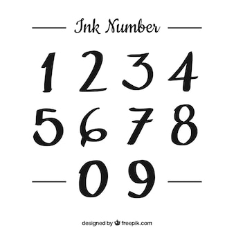 Coleção de números de tinta