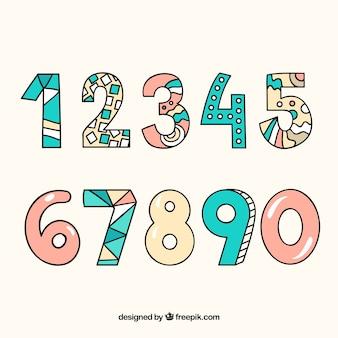 Coleção de números dos desenhos animados com padrões