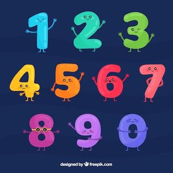 Coleção de números dos desenhos animados com personagens