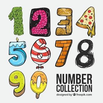 Coleção de números dos desenhos animados com texturas