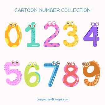 Coleção de números dos desenhos animados
