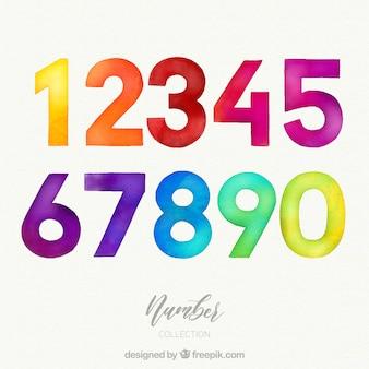 Coleção de números em aquarela