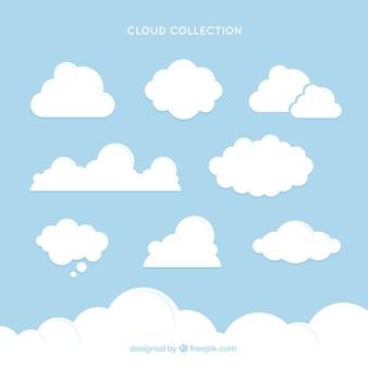 Coleção de nuvem branca com tamanhos diferentes