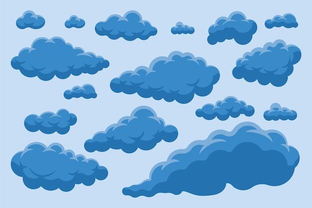 Coleção de nuvem de design plano