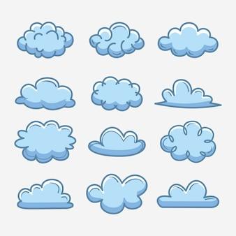 Coleção de nuvens desenhadas à mão