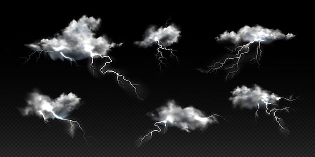 Coleção de nuvens diferentes realistas