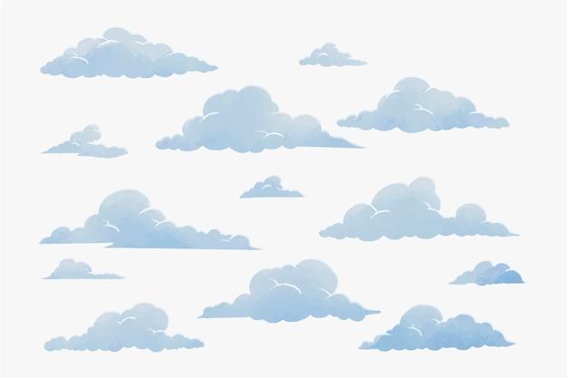 Coleção de nuvens em aquarela