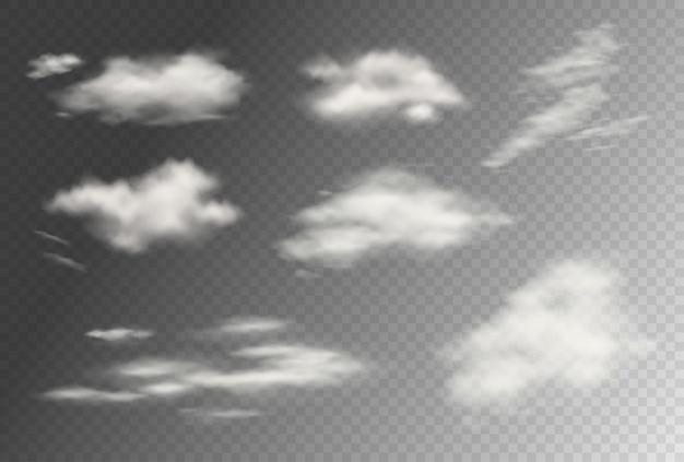 Coleção de nuvens transparentes de vetor realista. ilustração de céu nublado fofo. tempestade, efeitos de nuvem de chuva. modelo de conceito de atmosfera e clima