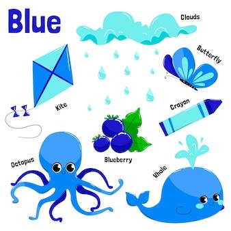 Coleção de objetos azuis e palavras do vocabulário em inglês