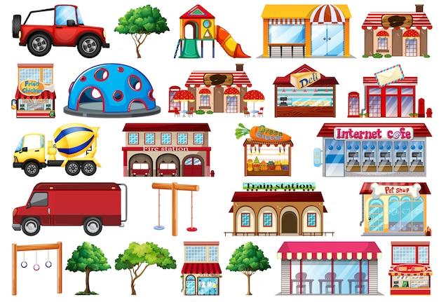 Coleção de objetos casas e transporte